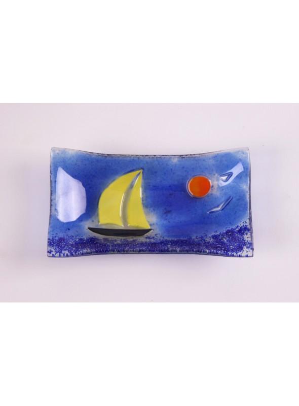 Vassoio rettangolare ornamentale decorato a mano con un paesaggio marino - Vela 4 piccolo
