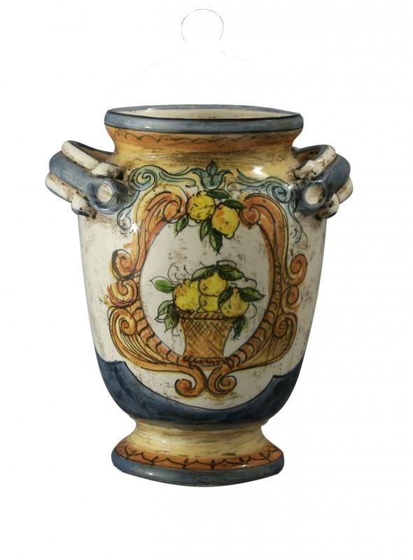 Vaso piccolo di ceramica in stile classico, cotto e decorato a mano