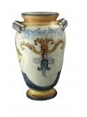 Vaso grande di ceramica in stile classico, cotto e decorato a mano