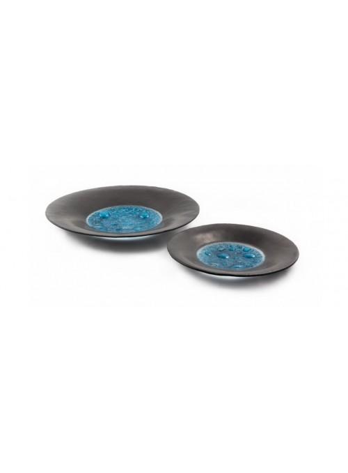 Piatto piccolo da centrotavola in vetro nero e azzurro - Basalto