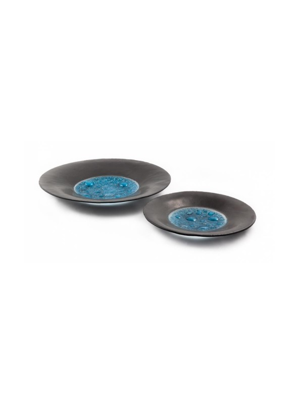 Small black and ligh blue satinized glass centrepiece plate - Basalto
