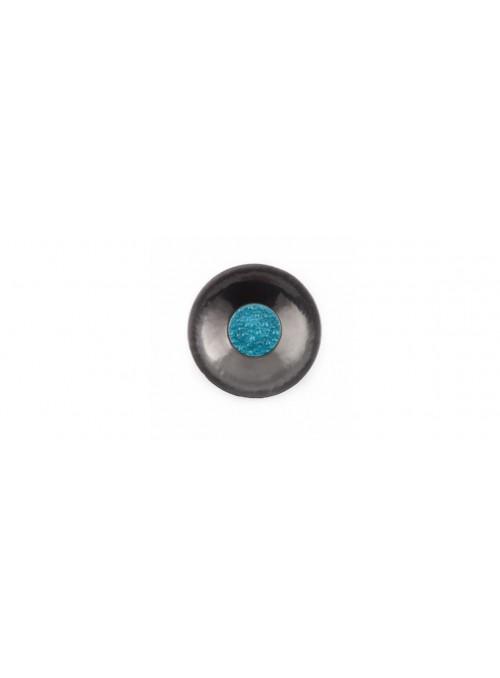Piatto grande da centrotavola in vetro nero e azzurro - Basalto