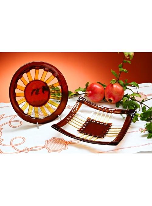 Centrotavola quadrato di vetro colorato di stile rustico