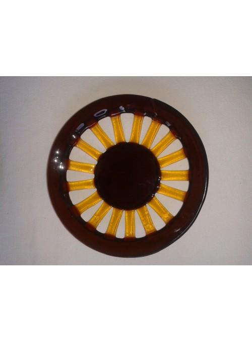 Centrotavola rotondo di vetro colorato di stile rustico
