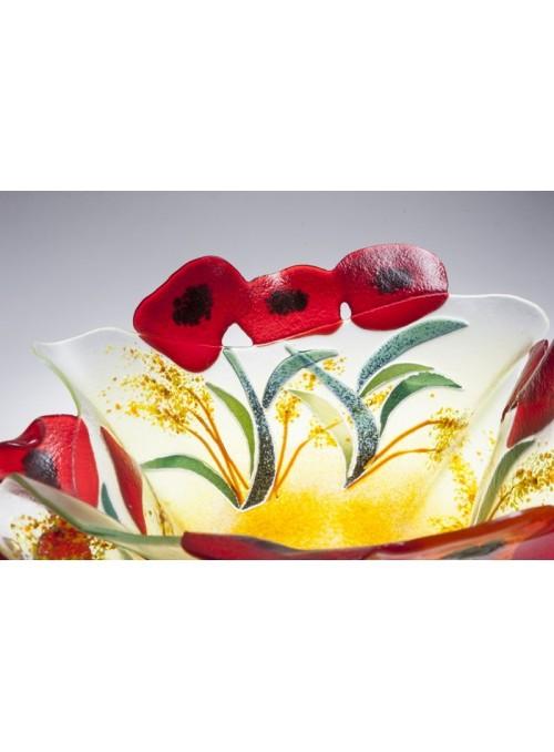 Vaso grande da centrotavola in vetro decorato da papaveri rossi