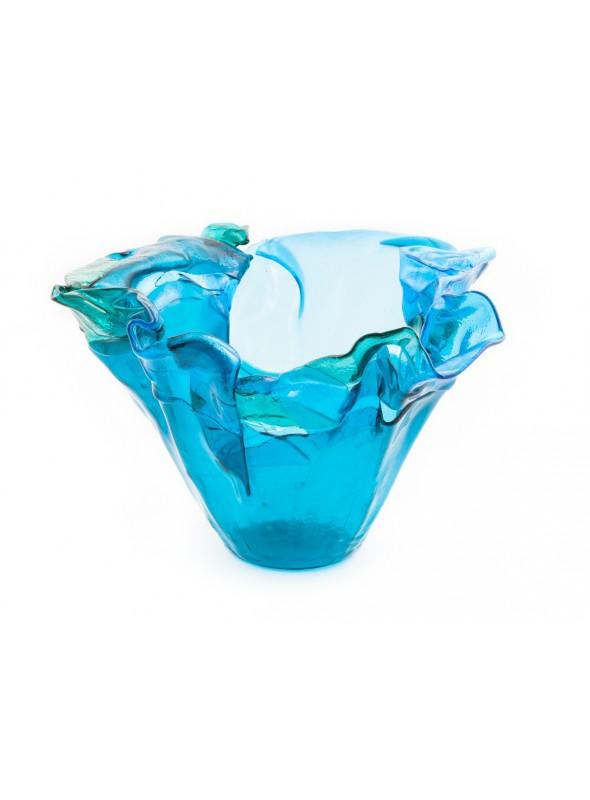 Vaso elegante da centrotavola in vetro azzurro - Onda