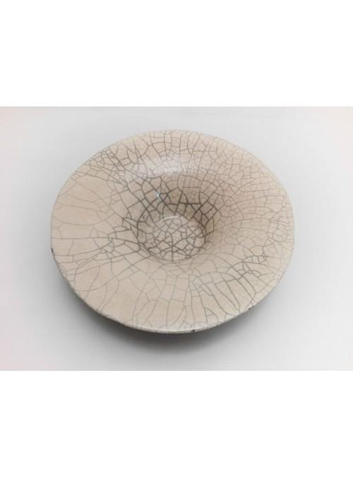 Piatto giapponese in ceramica Raku bianca e nera fatto a mano