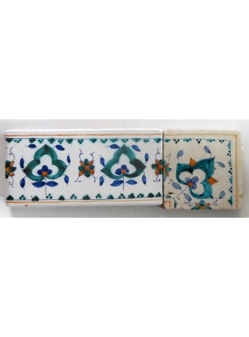 Set di mattonelle in cotto rustico smaltato ad angolo (A)