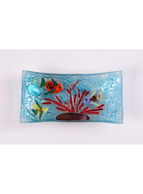 Little handmade rectangular blue marine glass tray - Acquario 1