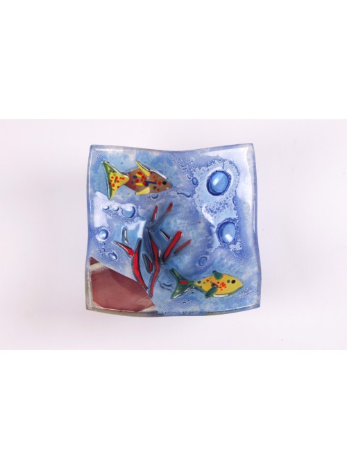 Handmade squared blue marine glass tray - Acquario 2