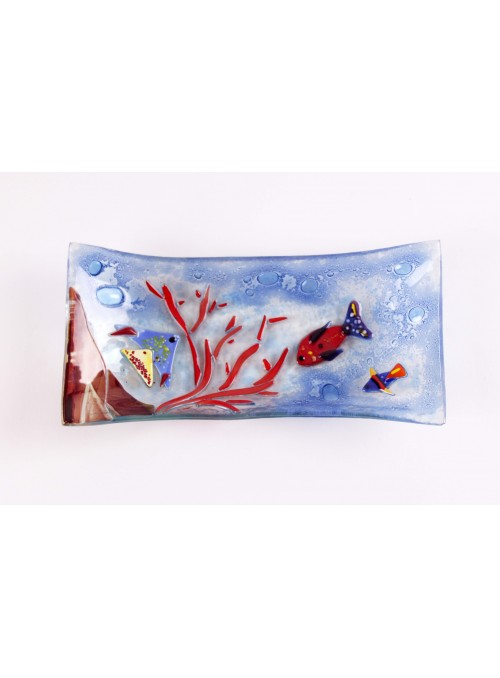 Large handmade rectangular blue marine glass tray - Acquario 3