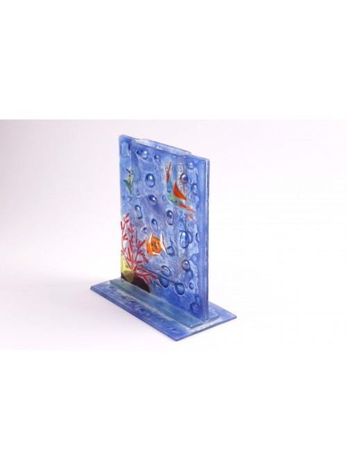 Handmade rectangular blue marine glass vase - Acquario 4