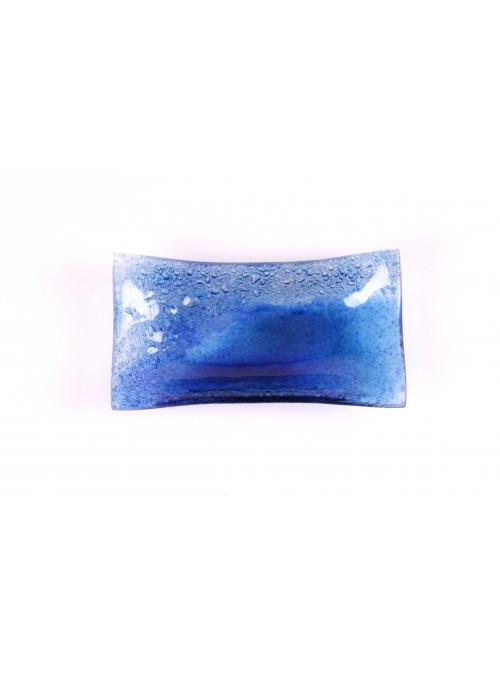 Rectangular glass tray in blue sapphire