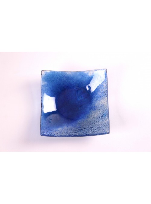 Vassoio quadrato in vetro color blu zaffiro