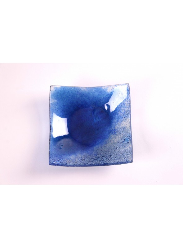 Squared glass tray in blue sapphire