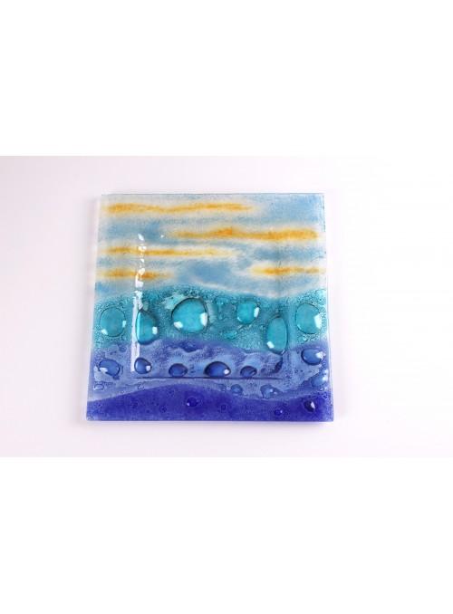 Vassoio quadrato grande in vetro colororato - Burbujas