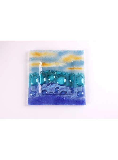 Vassoio quadrato piccolo in vetro colororato - Burbujas