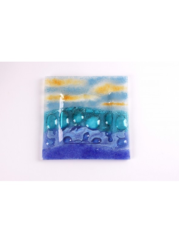 Little squared colourful glass tray - Burbujas