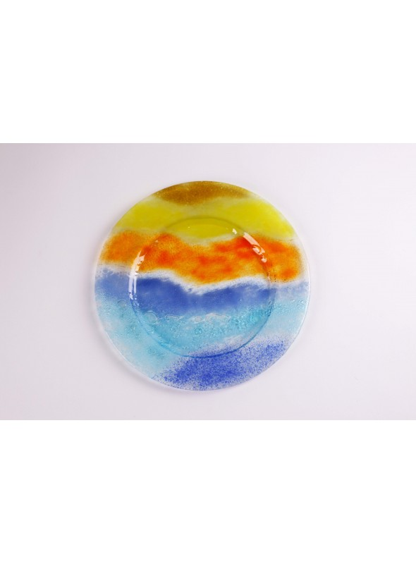 Handmade rounded glass tray in two different colours - Preludio