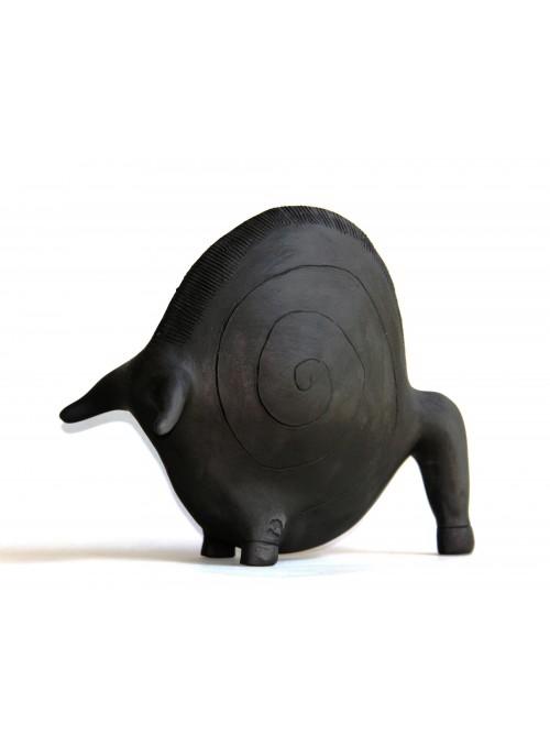 Statuetta decorativa del Dio Toro in terracotta di artigianato sardo - Toro Tondo Medio