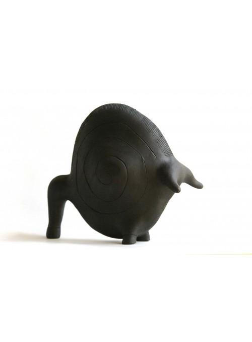 Decorative statuette of the Sacred Bull in terracotta of Sardinian craftsmanship - Toro Tondo Medium
