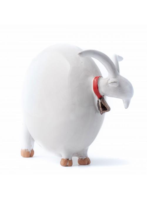 Statuetta decorativa capra piccola in maiolica bianca o terracotta nera