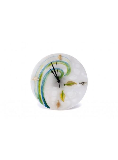 Orologio da tavolo in alabastro e resina - Foglie