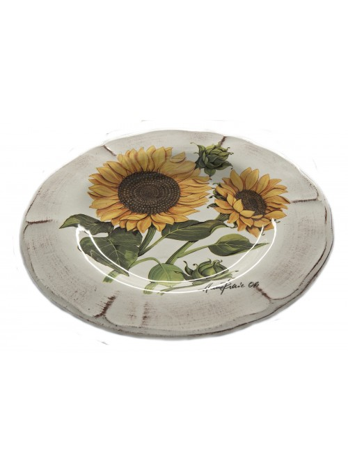 Piatto piano classico in ceramica in due diverse fantasie