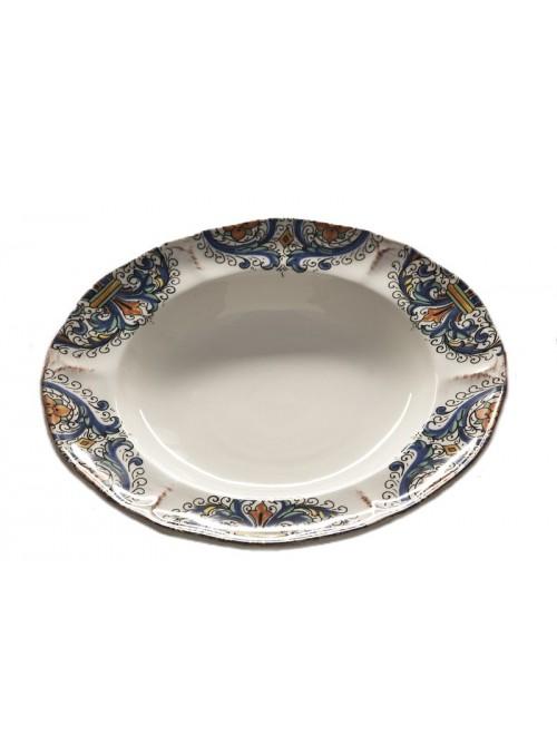 Piatto fondo classico in ceramica in due diverse fantasie