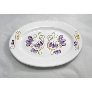 Piatto ovale da tavola liscio in ceramica