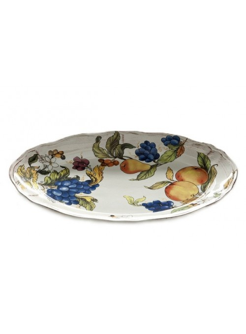 Oval tray in ceramic with 3 different decorations
