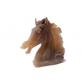 Scultura Testa di cavallo in alabastro agata