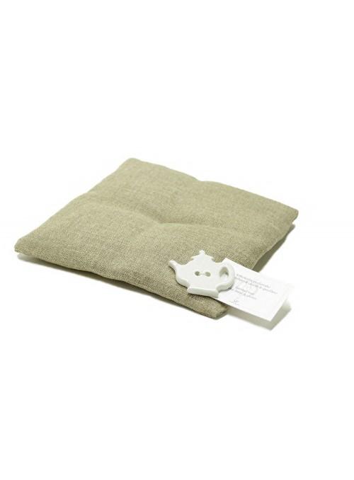 Hand-sewn teapot trivet in linen
