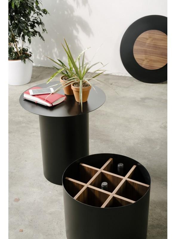 Tavolini Nails : Tavolino contenitore vino con piano circolare in ferro