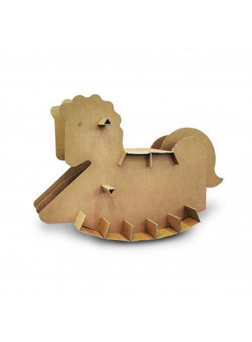 Cavallo a dondolo in cartone ondulato avana - Furia