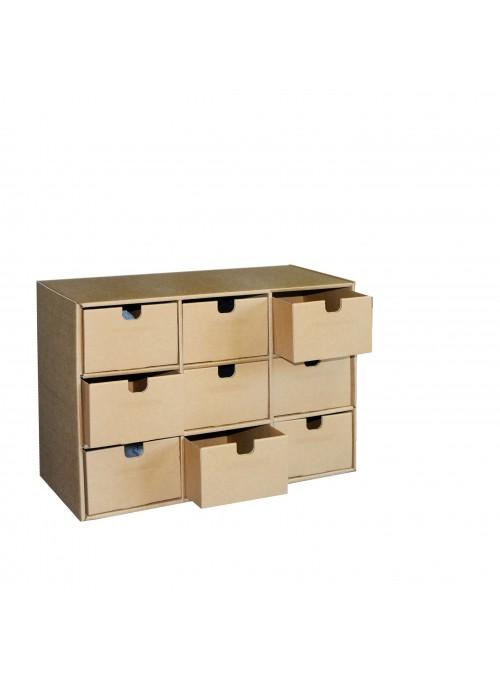 Cassettiera con 9 cassetti ecologica in cartone ondulato - Ingrid