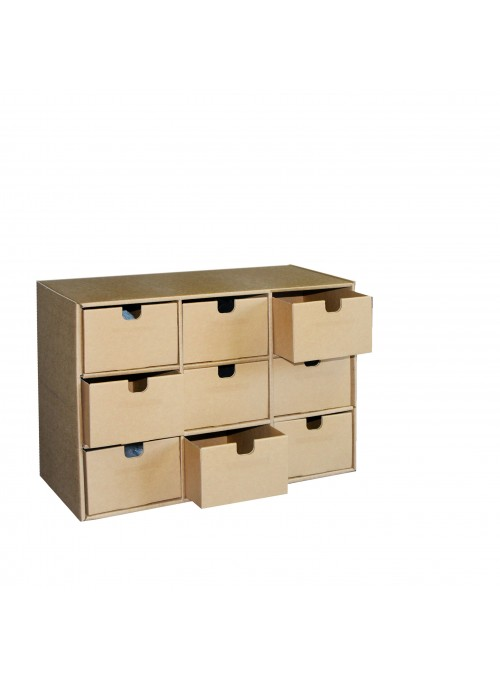 Chest of drawers with 9 ecological drawers in corrugated cardboard - Ingrid