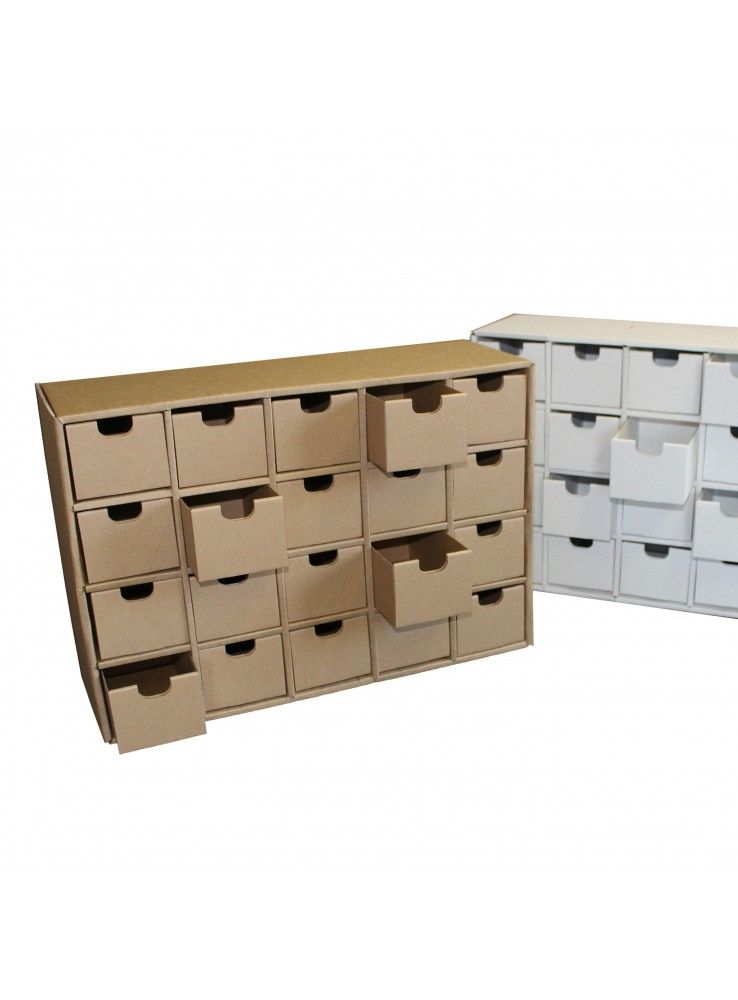 Chest Of Drawers With  Ecological Drawers In Corrugated Cardboard Ingrid