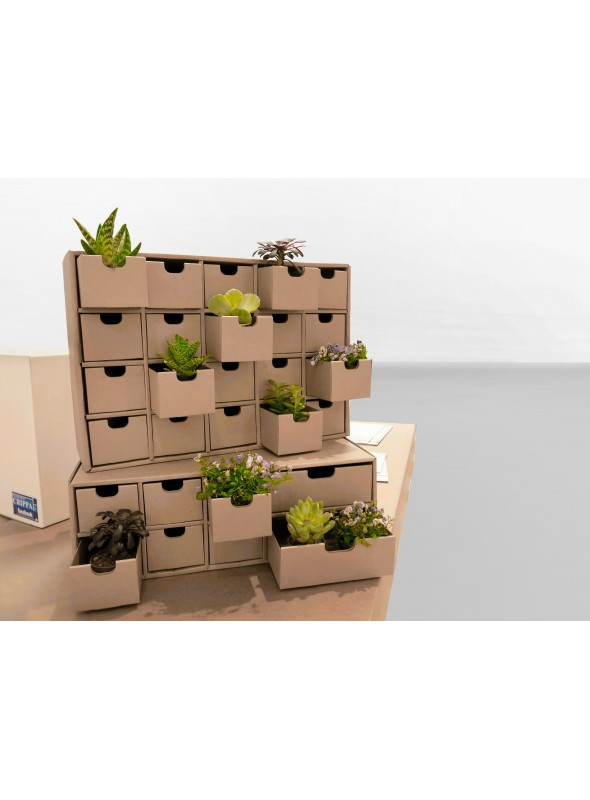 Chest of drawers with 20 ecological drawers in corrugated cardboard - Ingrid