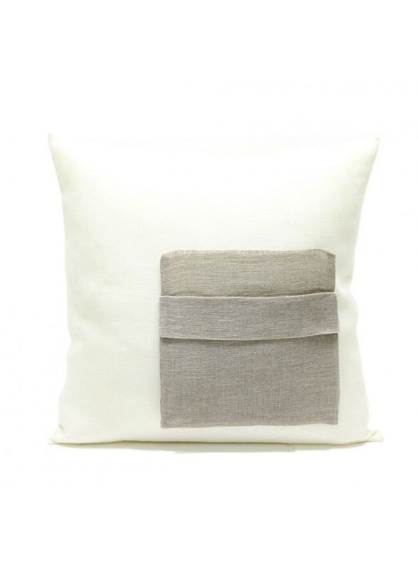Linen pillow cover with linen gauze pocket