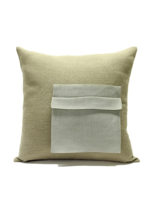 Federa in lino per cuscino con tasca