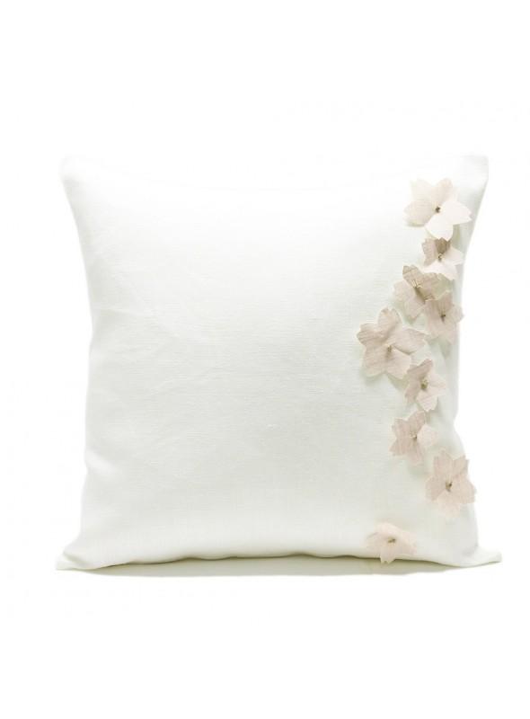 Federa per cuscino in lino con 9 fiori di ciliegio applicati