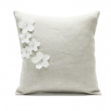 Federa in lino per cuscino di due misure con 5 fiori di ciliegio