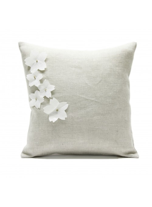 Linen pillow cover with 5 cherry blossoms applied