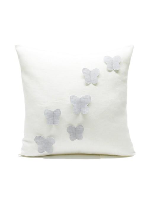 Federa in lino per cuscino con volo di farfalle applicate