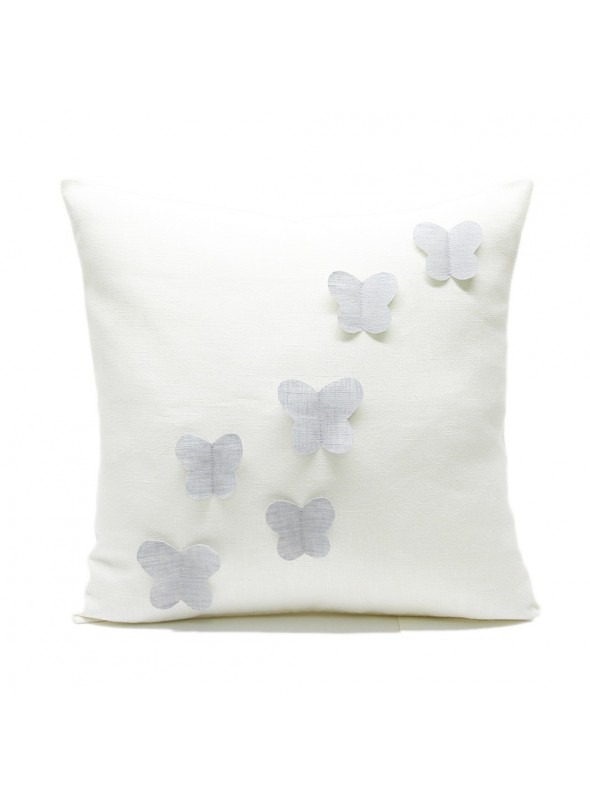 Linen pillow cover with flying butterflies