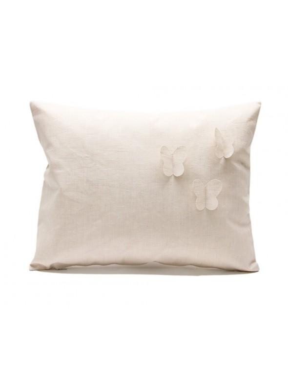 Federa per cuscino in lino resinato con tre farfalle
