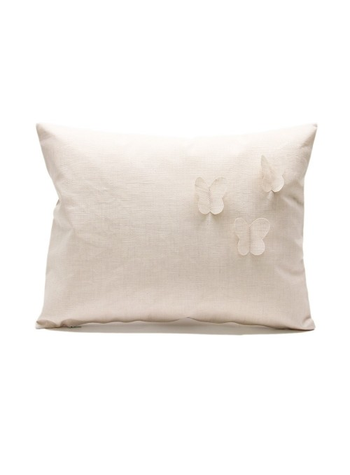Stain-Resistant linen pillow cover with 3 butterflies