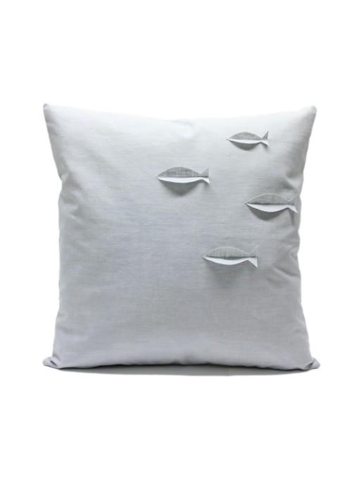 Federa per cuscino in lino resinato con pesciolini