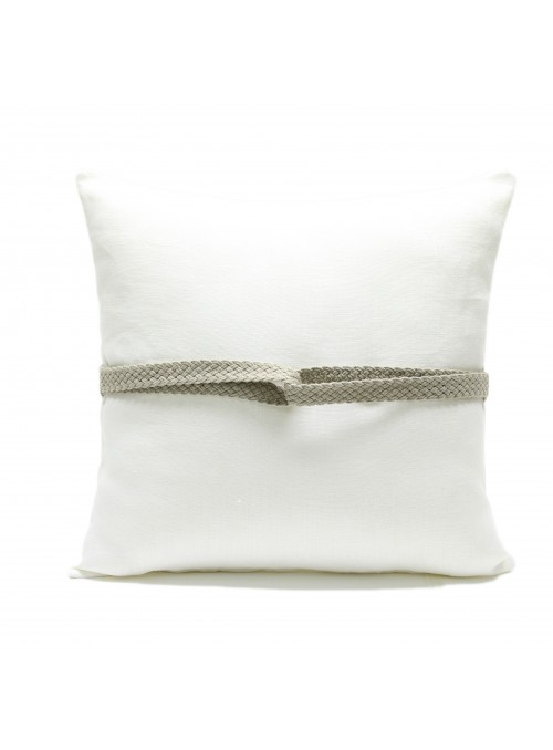 Linen pillow cover decorated with a braid